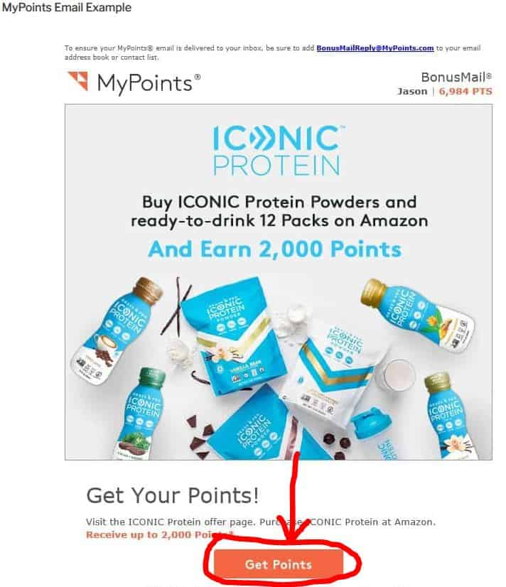 My Points email Example